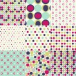 Stock Vector: Seamless patterns, polkdot set