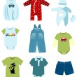 Baby boy elements, clothes — Stock Vector