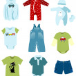 Stock Vector: Baby boy elements, clothes