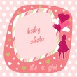 Baby girl photo frame — Stock Vector