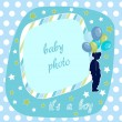 Baby boy photo frame - Stock Vector