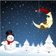 Moon and snowman, winter - Stock Vector