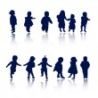 Silhouettes - children — Stock Vector