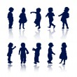 Stock Vector: Silhouettes - children