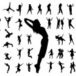 Stock Vector: Silhouette jumping dance