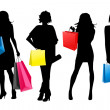 Silhouette girls shopping — Stock Vector