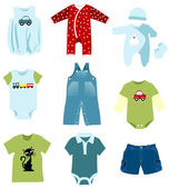 Baby boy elements, clothes — Vector de stock