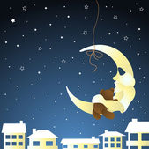 Moon and teddy, baby greeting card — Stock Vector