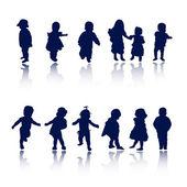Silhouettes - children — Stock Vector