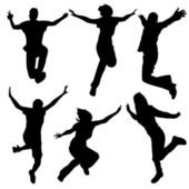 Silhouette jumping dance — Vetorial Stock