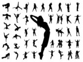 Silhouette jumping dance — Stock Vector