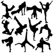 Silhouette break dance — Stock Vector