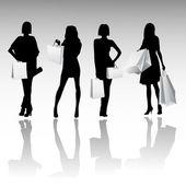 Chicas de silueta de compras — Vector de stock