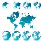 globes et carte du monde — Vecteur