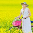 Woman and bicycle — Stock Photo #11413932