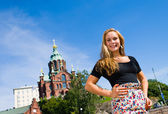 Girl and Uspenski Cathedral — Stock Photo