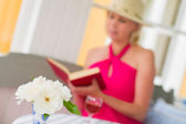 Lady and book — Stock Photo