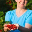 Redcurrant and woman - Stock Photo