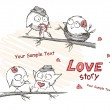Royalty-Free Stock Векторное изображение: Spring, love birds sitting on a tree.