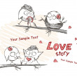 Royalty-Free Stock Vectorielle: Spring, love birds sitting on a tree.