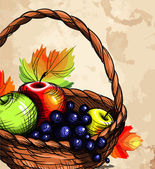 Basket with fruit. — Vettoriale Stock