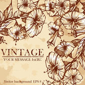 Stylish floral background, retro flowers. — Stock vektor