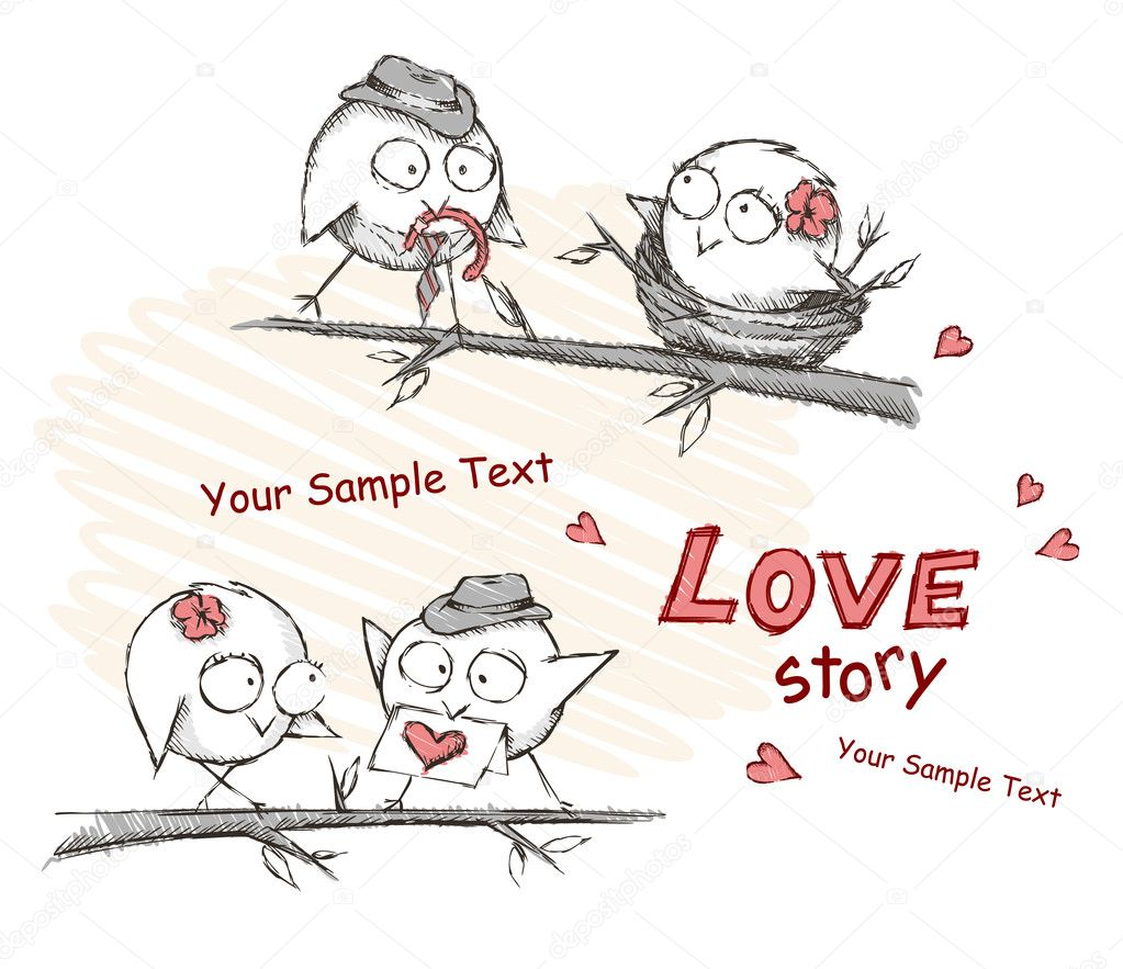 Spring, love birds sitting on a tree. Vector illustration. Eps 8. — Vettoriali Stock  #11057406