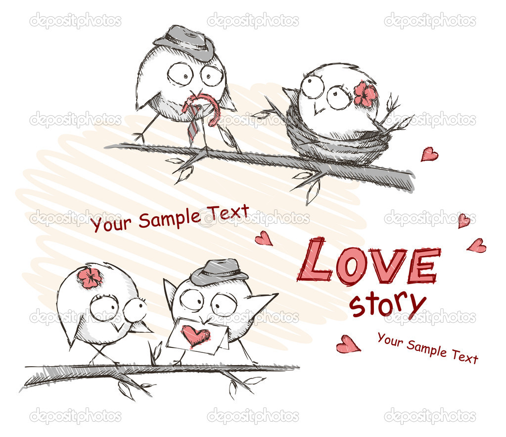 Spring, love birds sitting on a tree. Vector illustration. Eps 8. — Векторная иллюстрация #11057406