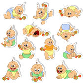 Stickers with little baby boys. — Stock Vector