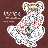 Beautiful stylish fat girl. — Stock Vector