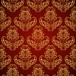 Seamless wallpaper in style retro: gold on crimson - Stock Vector