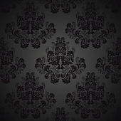 Seamless Black wallpaper - pattern with roses — Stock Vector