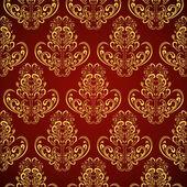 Seamless wallpaper in style retro: gold on crimson — Stock Vector