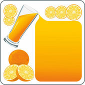 Orange juice flows out and creates a frame — Stock Vector