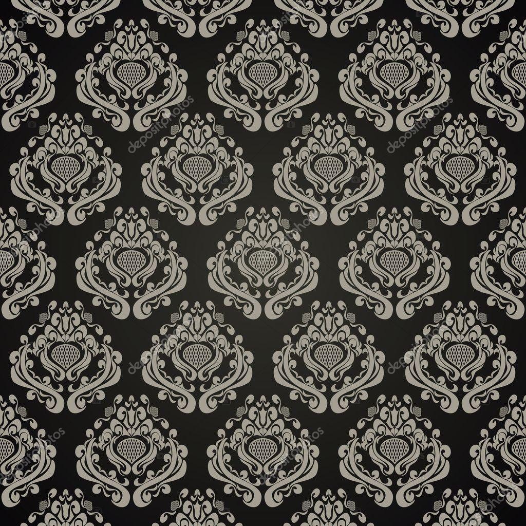 nahtlose tapete im retro stil ornament auf schwarz stockvektor natali123457 10968267. Black Bedroom Furniture Sets. Home Design Ideas