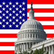 Capital building with american flag - Stock Photo