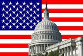 Capital building with american flag — Stock Photo