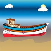 Boat on beach — Stock Vector