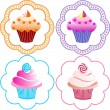 Stock Vector: Cute cupcakes set