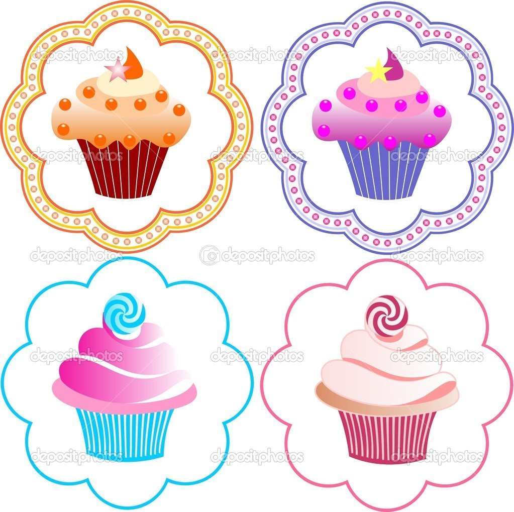 Cute cupcakes set,  Stock Vector #11435636