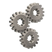 Three Nickel Gears Meshing Together — Stockfoto