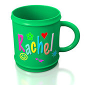 Green personalized plastic mug — Stock Photo