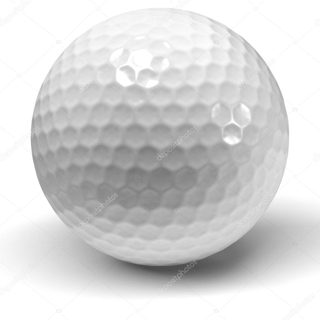 Single golfball on a white background 3D rendered — Stock Photo #10917140