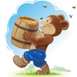 Bear cub and honey - Stock Vector