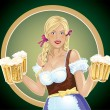 Girl waitress with, a beer in hand - Stock Vector