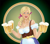 Girl waitress with, a beer in hand — Stock Vector