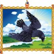 Folk Raven - Stock Vector