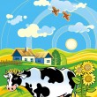 Rural landscape with cheerful cow - Stock Vector