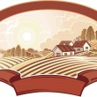 Rural landscape with houses. Monochrome. — Stock Vector