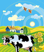 Rural landscape with cheerful cow — Stock Vector